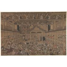 鳥居清忠: Ichikawa Danjuro II(?) Performing Shibaraku in the Ichimura Theater - メトロポリタン美術館