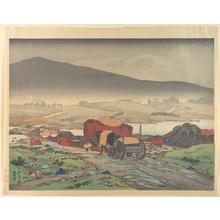 橋口五葉: Cart in Rainy Landscape - メトロポリタン美術館