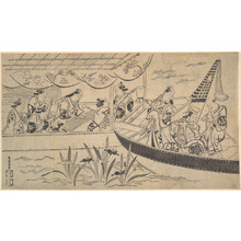 鳥居清倍: An Actor's Boating Party on the Sumida River - メトロポリタン美術館