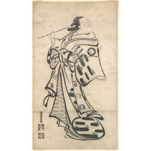 Torii Kiyomasu I: An Oiran Standing, a Pipe in Her right Hand, and Turning to Look Behind over Her Shoulder - Metropolitan Museum of Art