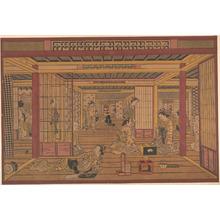鳥居清忠: An Interior View in the Yoshiwara - メトロポリタン美術館