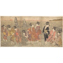 喜多川歌麿: Women Worshipping the Rising Sun between the Twin Rocks at Ise - メトロポリタン美術館
