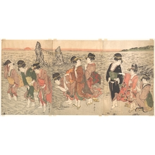 喜多川歌麿: Women Worshipping the Rising Sun between the Twin Rocks at Ise - メトロポリタン美術館