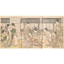 喜多川歌麿: Three Intoxicated Courtesans - メトロポリタン美術館