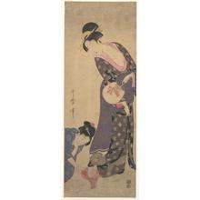 喜多川歌麿: Two Women with a Baby who is Playing on the Floor - メトロポリタン美術館