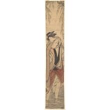 鳥居清長: Two Lovers Crossing a River - メトロポリタン美術館