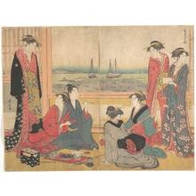 鳥居清長: Teahouse in Shinagawa - メトロポリタン美術館