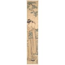 鳥居清長: Woman with Fan on the Banks of the Sumida River - メトロポリタン美術館
