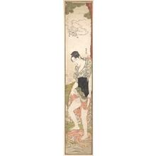 勝川春潮: Young Woman Washing Clothes in the River - メトロポリタン美術館