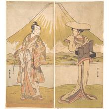 Katsukawa Shunsho: The Actor Nakamura Tomijuro as a Tall Woman in a Flat Straw Hat - Metropolitan Museum of Art