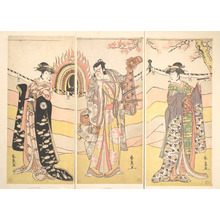 勝川春扇: Three Actors in Beautiful Costumes Performing a Religious Dance - メトロポリタン美術館