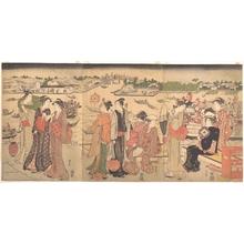 勝川春山: Festival by the Sumida River - メトロポリタン美術館
