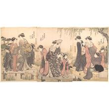 勝川春潮: Courtesans in an Iris Garden - メトロポリタン美術館