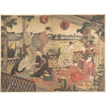 窪俊満: Two Young Men and Several Women Dining at a Tea-house on the Bank of the Sumida River - メトロポリタン美術館