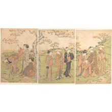 Katsukawa Shuncho: Women and Children Viewing the Cherry Blossoms at Gotenyama - Metropolitan Museum of Art