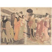 勝川春潮: A Group of Women, One Man and a Boy on a Bridge - メトロポリタン美術館