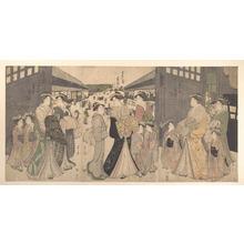 細田栄之: Oiran and Attendants at the Ô Mon or Great Gate of the Yoshiwara - メトロポリタン美術館