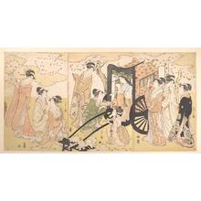 細田栄之: A Cherry-Viewing Excursion by a Noble Lady and Attendants - メトロポリタン美術館