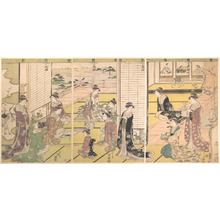 Hosoda Eishi: Fete in a Nobleman's Yashiki: Ladies Composing Poems - Metropolitan Museum of Art