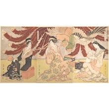 鳥高斎栄昌: Front of Chojiya Pleasure House - メトロポリタン美術館