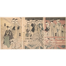 Utagawa Toyokuni I: Beauties on a Veranda among Cherry Blossoms from which a Samurai is Departing - Metropolitan Museum of Art
