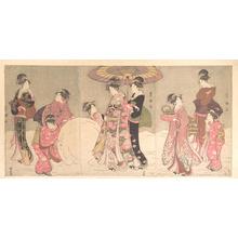 Utagawa Toyokuni I: Courtesans and Attendants Playing in the Snow - Metropolitan Museum of Art