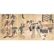 Kikugawa Eizan: Promenade of Famous Beauty Escorted by Many Female Attendants - Metropolitan Museum of Art