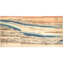 歌川広重: Celebrated Places in the Eastern Capital: Panoramic View of the Sumida River in Snow - メトロポリタン美術館
