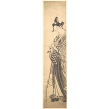 奥村政信: Young Man Walking Toward the Left on High Geta and Playing the Flute as He Walks - メトロポリタン美術館