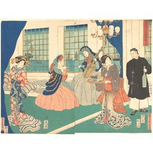 Utagawa Sadahide: Yokohama Foreigners in the Sitting Room of a Merchant Ship - Metropolitan Museum of Art