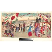 豊原周延: Visit of the Empress to the Third National Industrial Promotional Exhibit at Ueno - メトロポリタン美術館