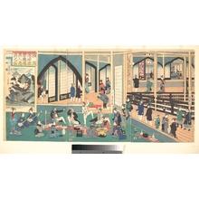 歌川芳員: Foreigners Enjoying Themselves in the Gankirô - メトロポリタン美術館