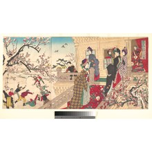 Toyohara Chikanobu: Women Viewing Plum Blossoms and Children Playing in the Snow - Metropolitan Museum of Art