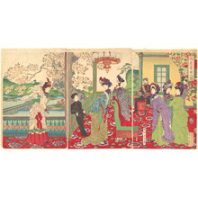 Toyohara Chikanobu: A Contest of Beauties among the Cherry Blossoms - Metropolitan Museum of Art