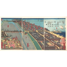 歌川貞秀: Detailed Print of Yokohama Hon-chô and the Miyozaki Pleasure Quarter - メトロポリタン美術館