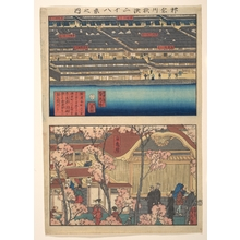 Utagawa Sadahide: Two Views: Waterfront at Kaigan-chô, 3-chome and 4-chome, and the Entrance to the Gankirô Tea House - Metropolitan Museum of Art