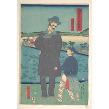 Utagawa Sadahide: Dutchman and Child Viewing the Benten Shrine at Shinobazu Pond - Metropolitan Museum of Art