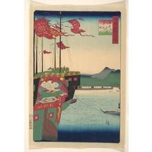 二歌川広重: Dutch and Chinese Ships in the Harbor at Nagasaki in Hizen Province - メトロポリタン美術館