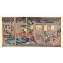 Utagawa Hiroshige II: View of the Interior of the Gankirô Tea House in Yokohama - Metropolitan Museum of Art