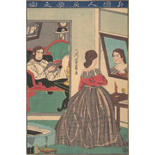 歌川芳員: Foreigners Studying at Night - メトロポリタン美術館