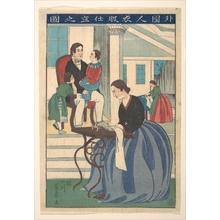 歌川芳員: Foreign Family with Wife Making Clothes - メトロポリタン美術館