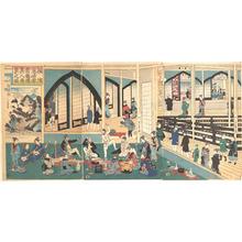 歌川芳員: Foreigners Enjoying a Party at the Gankirô Tea House - メトロポリタン美術館