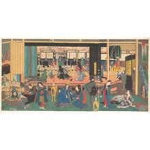 歌川芳員: Foreigners Enjoying Children's Kabuki at the Gankirô Tea House - メトロポリタン美術館