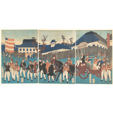 Utagawa Yoshikazu: Picture of a Procession of Foreigners at Yokohama - Metropolitan Museum of Art