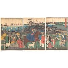 歌川芳員: Foreigners Visiting the Famous Site of Mt. Gongen in Kanagawa - メトロポリタン美術館