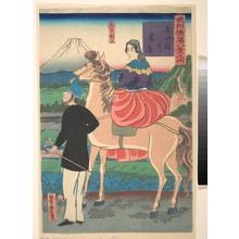 歌川芳虎: Descending Geese at Yoshida Bridge [English Couple] (Yoshidabashi no rakugan [Igirisujin]) - メトロポリタン美術館