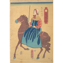 歌川芳虎: Englishmen Woman on Horseback - メトロポリタン美術館