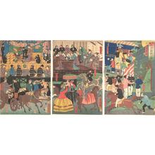 歌川芳虎: A View of the Amusements of the Foreigners in Yokohama, Bushu - メトロポリタン美術館