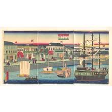 Utagawa Hiroshige III: Foreign Ships at the Seafront in Yokohama (Yokohama Kagandori no fûkei) - Metropolitan Museum of Art