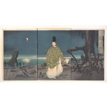 小林清親: Heian Period Courtier on a Moonlit Beach - メトロポリタン美術館
